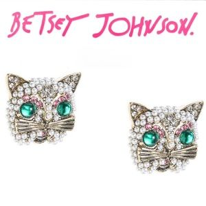 Betsey Johnson Kitty Stud Earrings